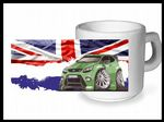 Koolart CLASSIC BRITISH Design For Green Ford Focus RS - Ceramic Tea Or Coffee Mug